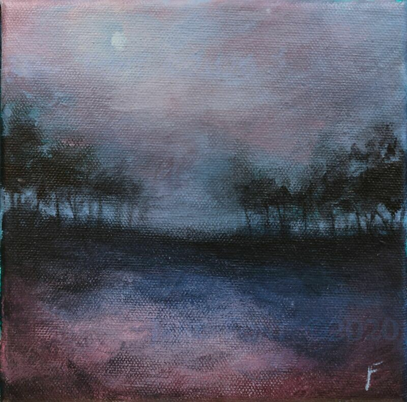 Late Song 2 - Original Acrylic Landscape by Jane Font