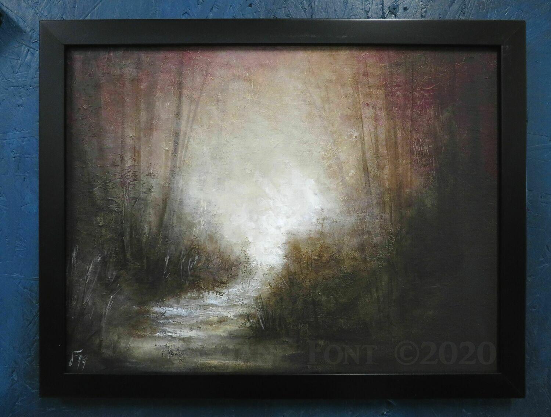 Follow - Original Finger Painted Landscape by Jane Font