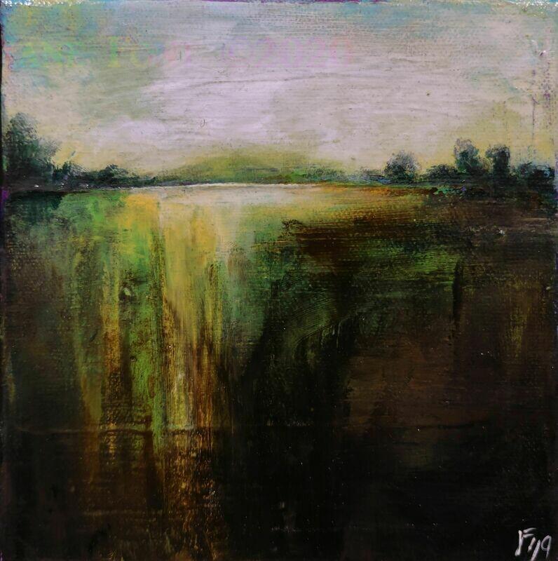 Saturate - Original Finger Painted Landscape by Jane Font