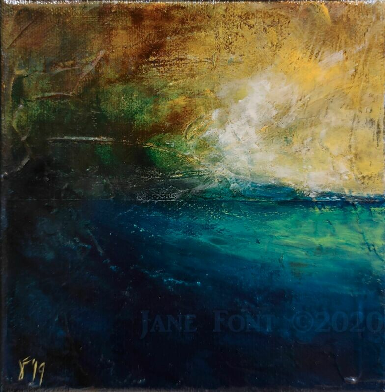 Swell - Original Finger Painted Landscape by Jane Font