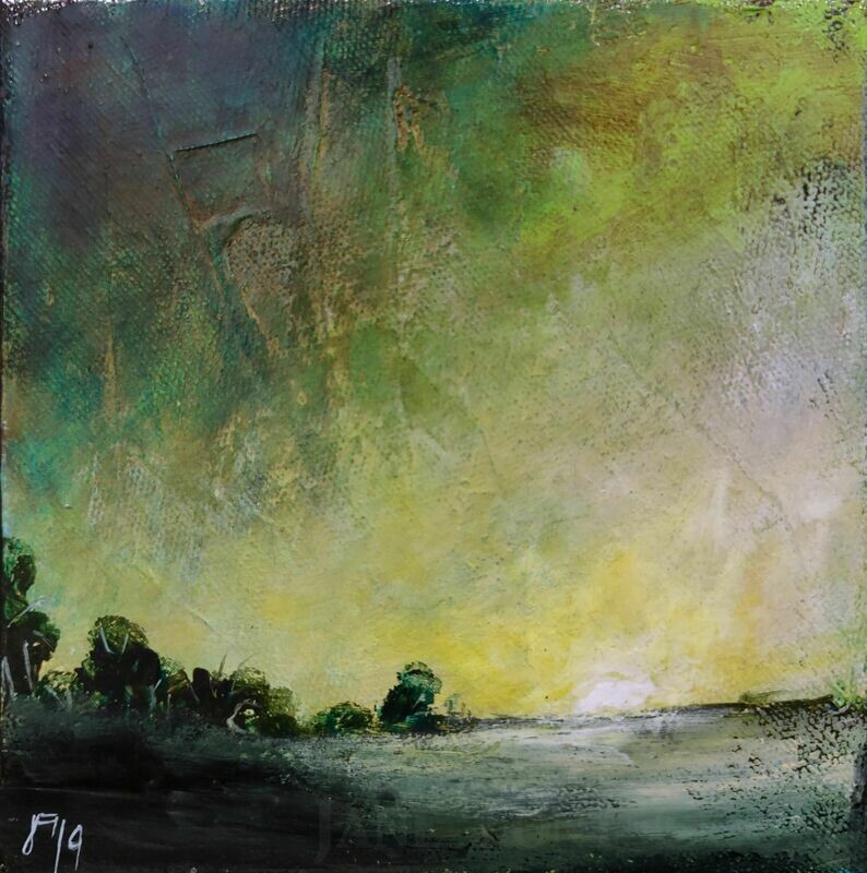 Morning (green) - Original Finger Painted Landscape by Jane Font