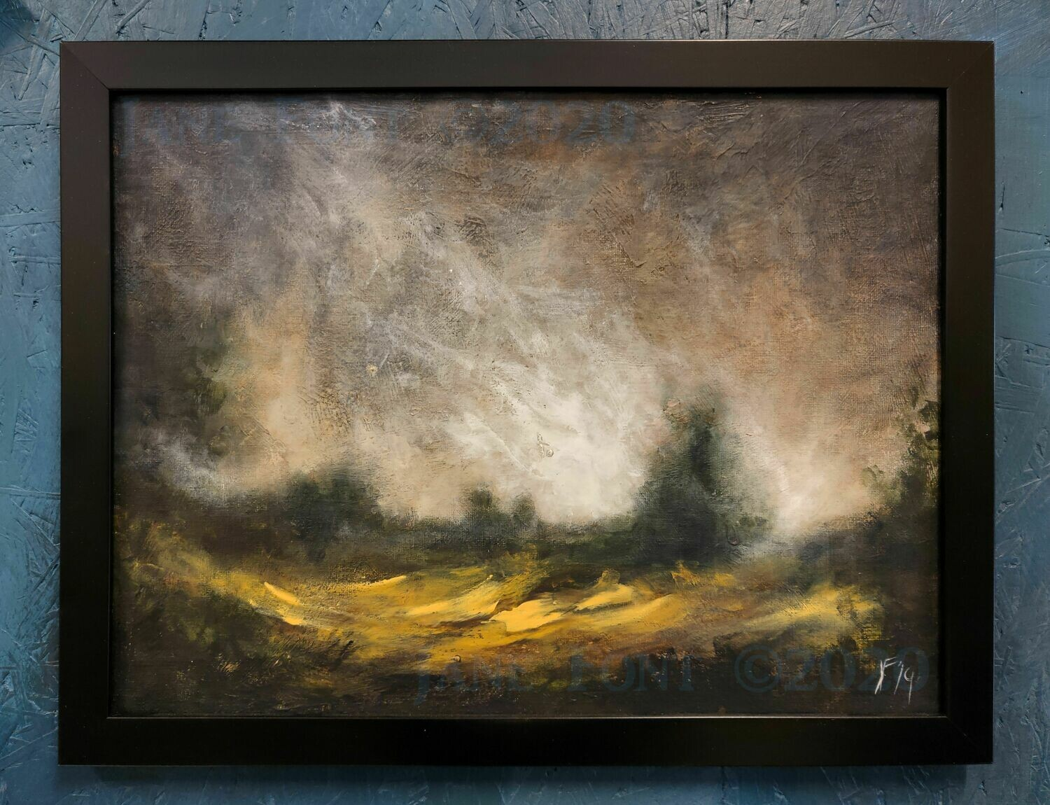 The Clearing - Original Finger Painted Landscape by Jane Font