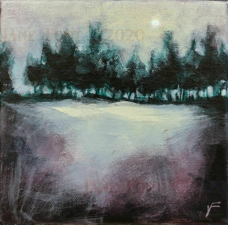 Welcome (Night and Day) - Original Acrylic Landscape by Jane Font