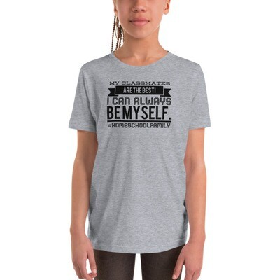 I Can Always Be Myself Youth Short Sleeve T-Shirt (Black Design)