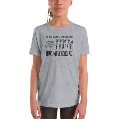 Camping Youth Short Sleeve T-Shirt (Black Design)