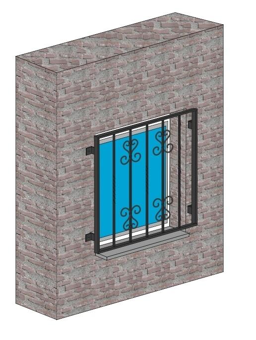 """Fenstergitter  """"Schnörkel 2""""  Stahl verzinkt wahlweise beschichtet"""