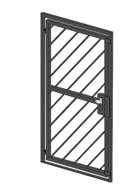 """Gittertür  """"Diagonalstab-1""""  Stahl verzinkt wahlweise beschichtet"""