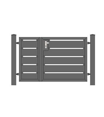 Sichtschutz Tür 2-flg. ALU-Füllung in RAL Rahmen Stahl verzinkt