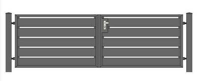 Sichtschutz Toranlage ALU-Füllung in RAL Rahmen Stahl verzinkt