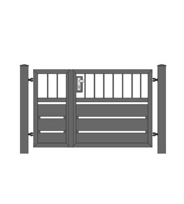 Sichtschutz  Stab-1 Tür 2-flg. ALU-Füllung in RAL Rahmen Stahl verzinkt