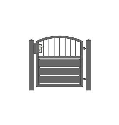 Sichtschutz  Stab-1 Oberbogen Tür 1-flg. ALU-Füllung in RAL Rahmen Stahl verzinkt