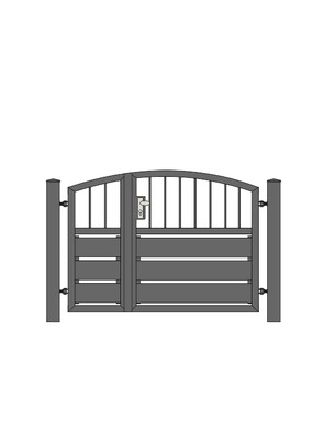 Sichtschutz  Stab-1 Oberbogen Tür 2-flg. ALU-Füllung in RAL Rahmen Stahl verzinkt