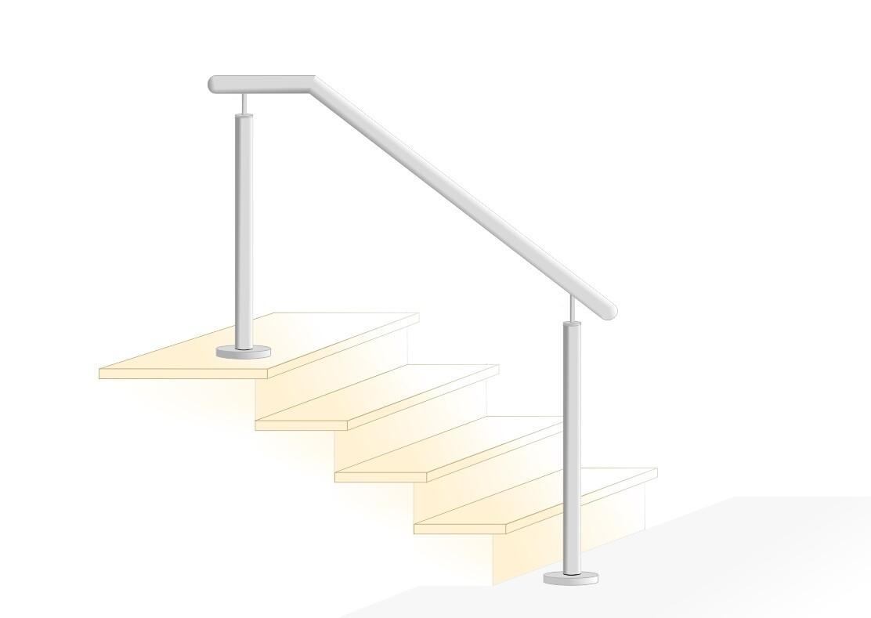 "Treppenhandlauf ""Stift-2"" V2A Edelstahl oben abgewinkelt"