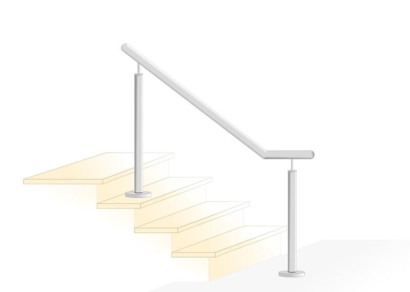 """Treppenhandlauf """"Stift-3"""" V2A Edelstahl unten abgewinkelt"""