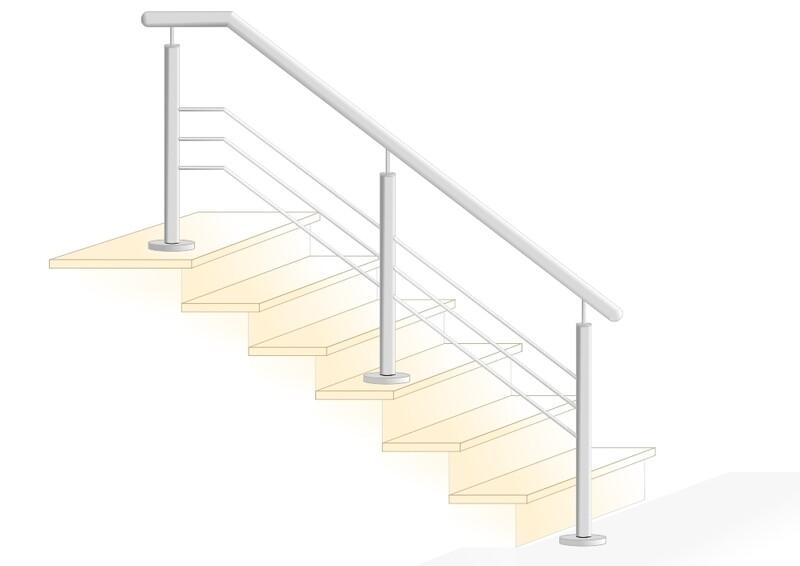 """Treppengeländer """"Querstab Stift-2 Lang"""" V2A Edelstahl"""