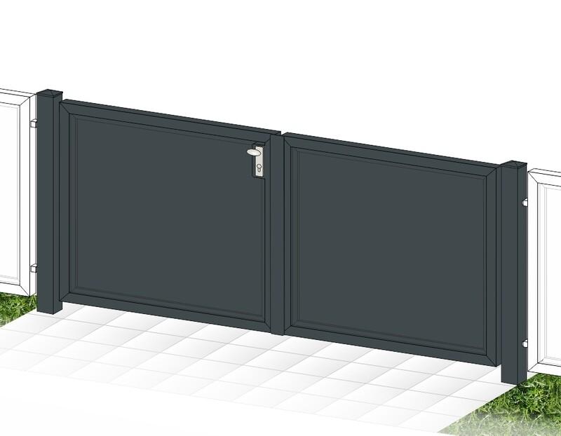 """Gartentor 2-flüglig """"Blickdicht-ALU"""" beschichtet mit Rahmen Stahl verzinkt"""