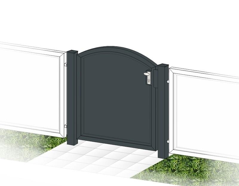 """Gartentür 1-flüglig """"Blickdicht-ALU Oberbogen"""" beschichtet mit Rahmen Stahl verzinkt"""