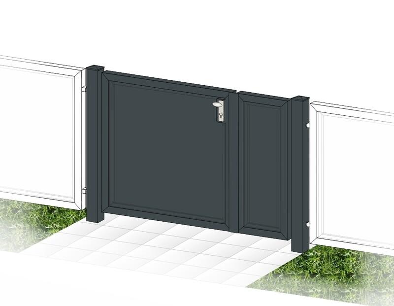 """Gartentür 2-flüglig """"Blickdicht-ALU"""" beschichtet mit Rahmen Stahl verzinkt"""