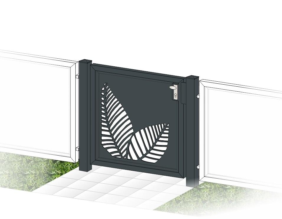 """Gartentür 1-flüglig  """"Laser Blätter-1"""" ALU  beschichtet mit Rahmen Stahl verzinkt"""