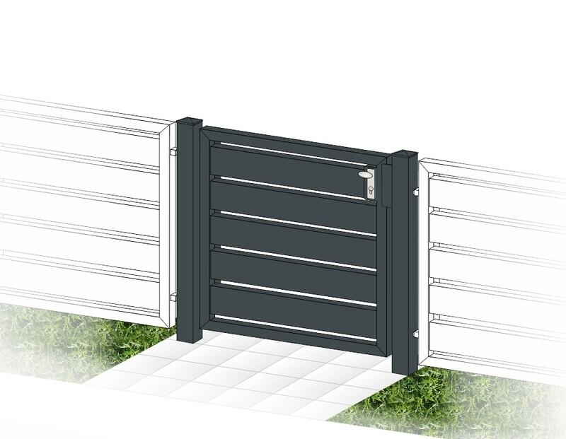 """Gartentür 1-flüglig ALU """"Sichtschutz"""" farbbeschichtet mit Rahmen Stahl verzinkt"""