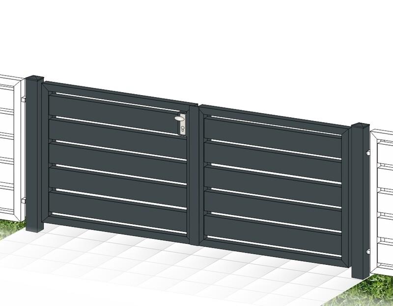 """Gartentor 2-flüglig ALU """"Sichtschutz"""" farbbeschichtet mit Rahmen Stahl verzinkt"""