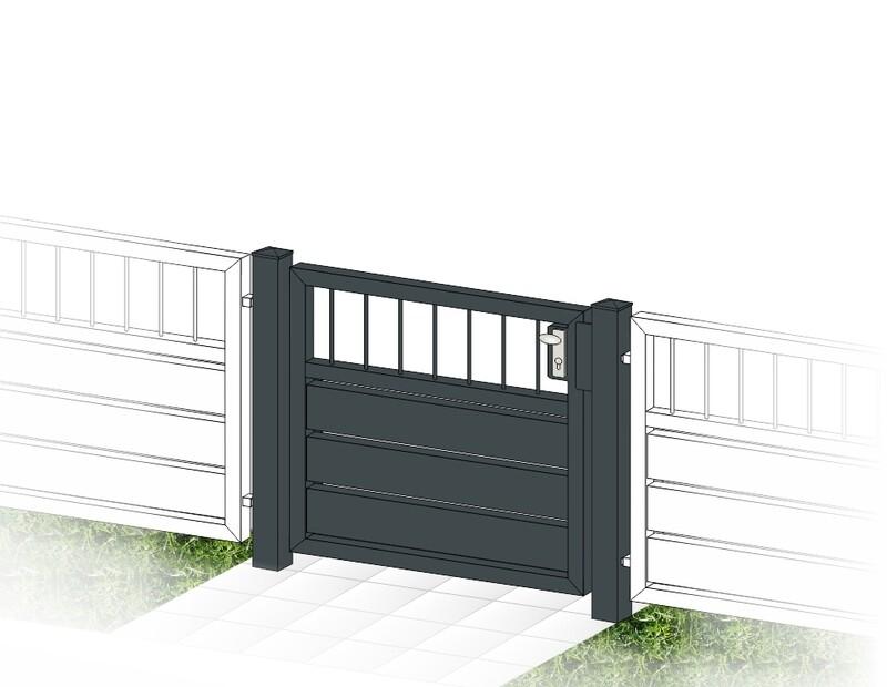 """Gartentür 1-flüglig ALU """"Sichtschutz  Stab-1"""" farbbeschichtet mit Rahmen Stahl verzinkt"""