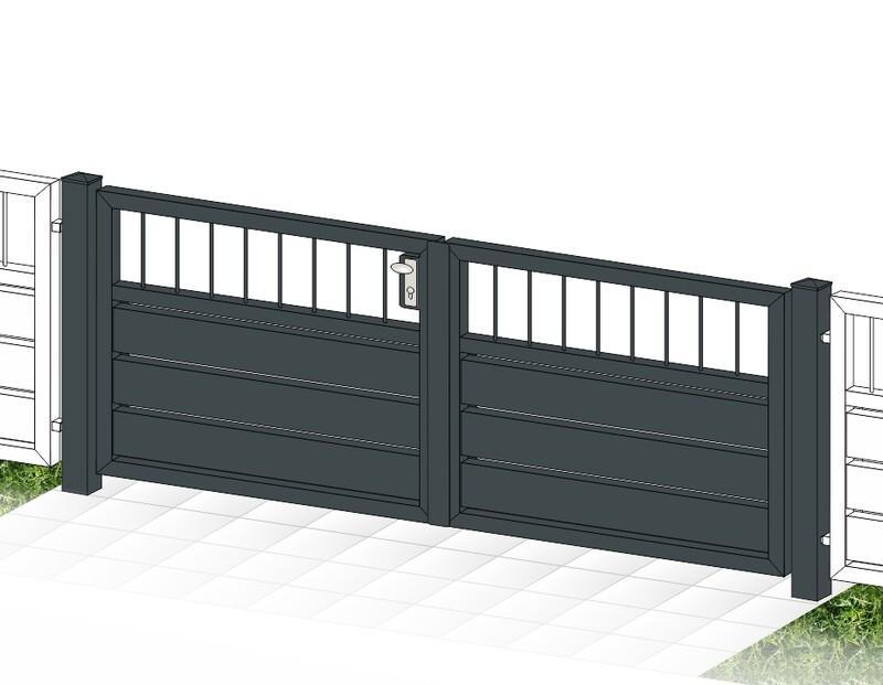 """Gartentor 2-flüglig ALU """"Sichtschutz  Stab-1"""" farbbeschichtet mit Rahmen Stahl verzinkt"""