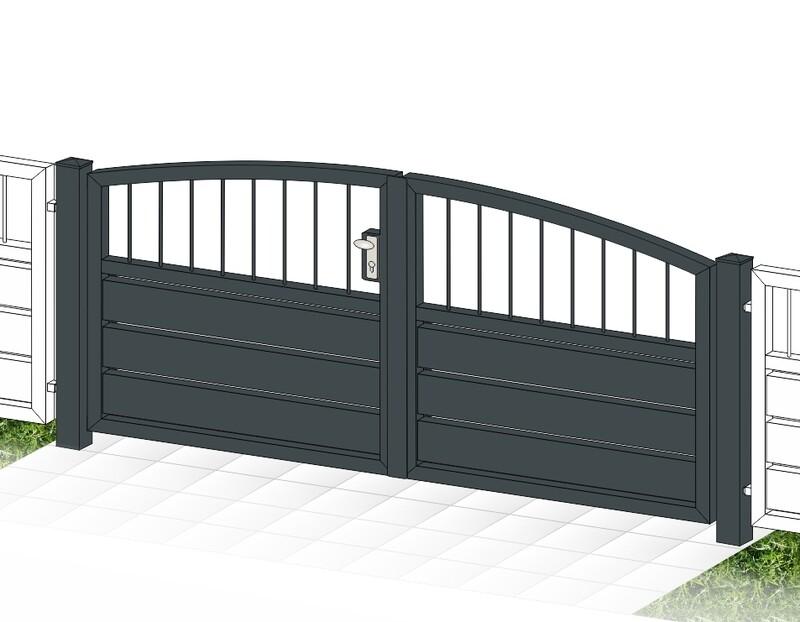 """Gartentor 2-flüglig ALU """"Sichtschutz  Stab-1-Oberbogen"""" farbbeschichtet mit Rahmen Stahl verzinkt"""