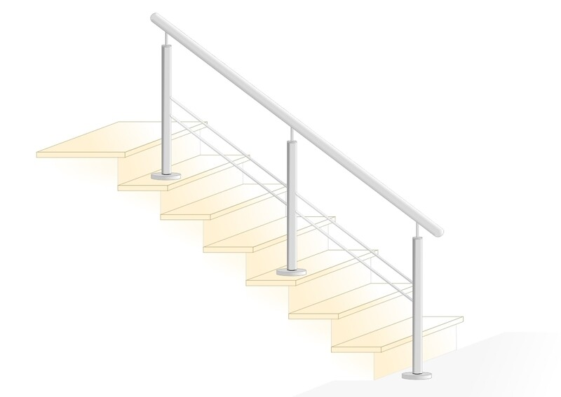 """Treppengeländer """"Querstab Stift-1 Lang"""" V2A Edelstahl"""