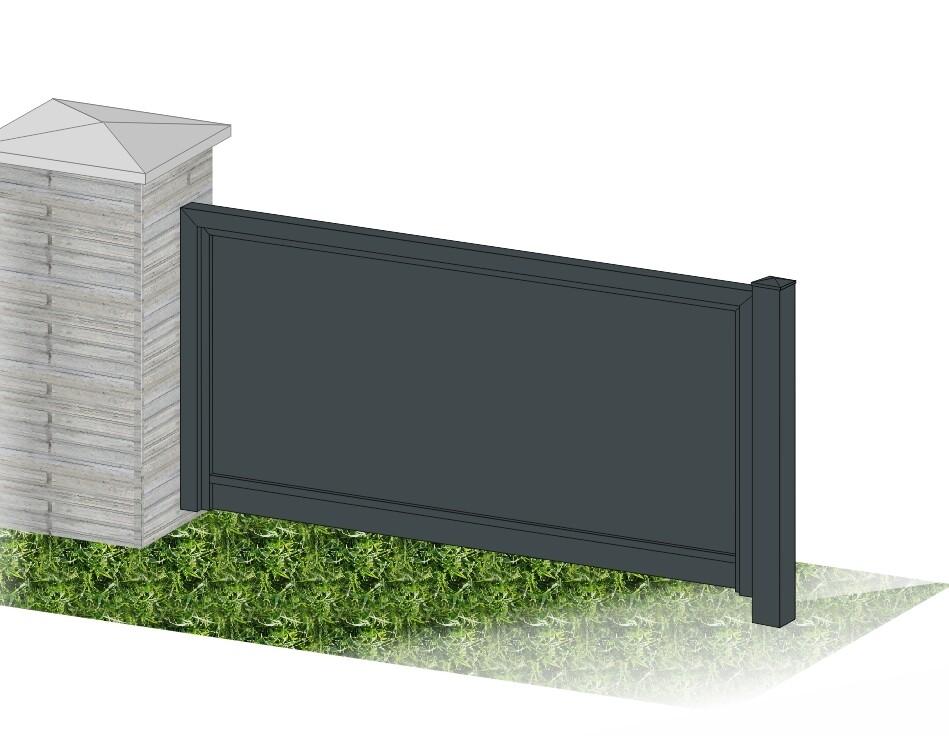 """Gartenzaun """"Blickdicht-ALU"""" beschichtet mit Rahmen Stahl verzinkt"""