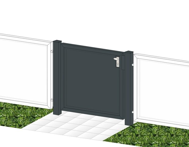 """Gartentür 1-flüglig """"Blickdicht-ALU"""" beschichtet mit Rahmen Stahl verzinkt"""