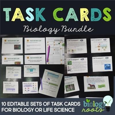 Biology Task Card Bundle- supports digital