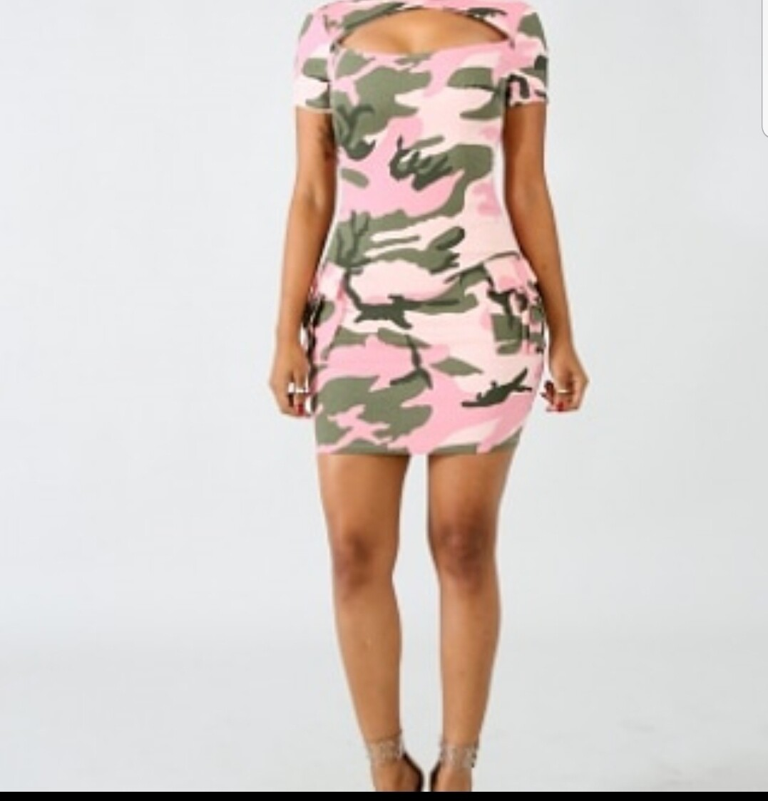 Army Pink Bodycon Dress