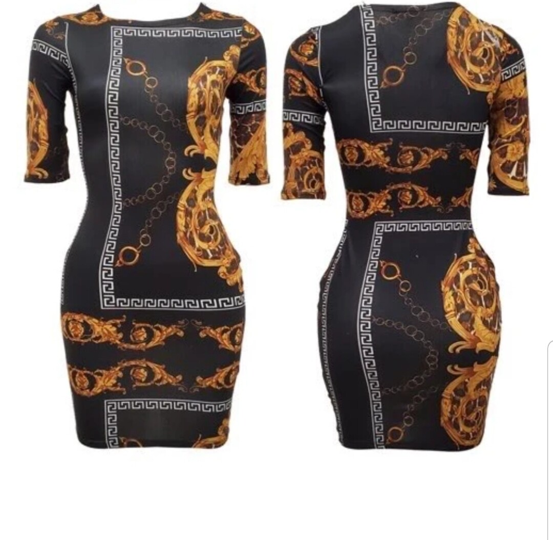 Black & Gold Print Dress