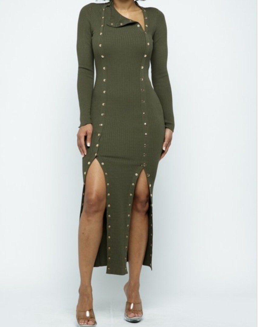 Double Button Olive Maxi