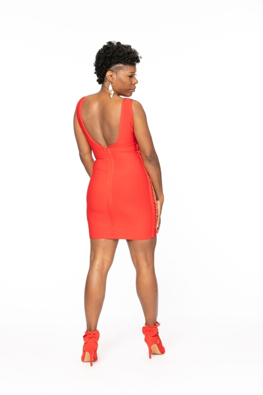Red Chain Bandage Dress