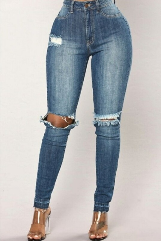 High Waist Distressed Knee