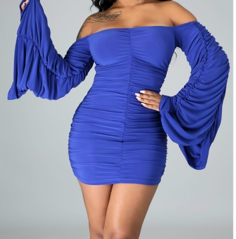Bell Sleeve Runched Dress
