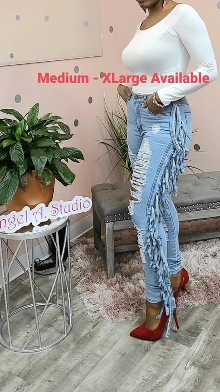 Denim Tassel Jeans