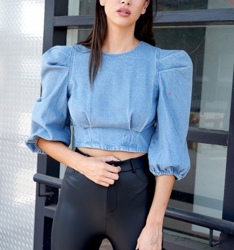 Denim Puff Sleeve Crop