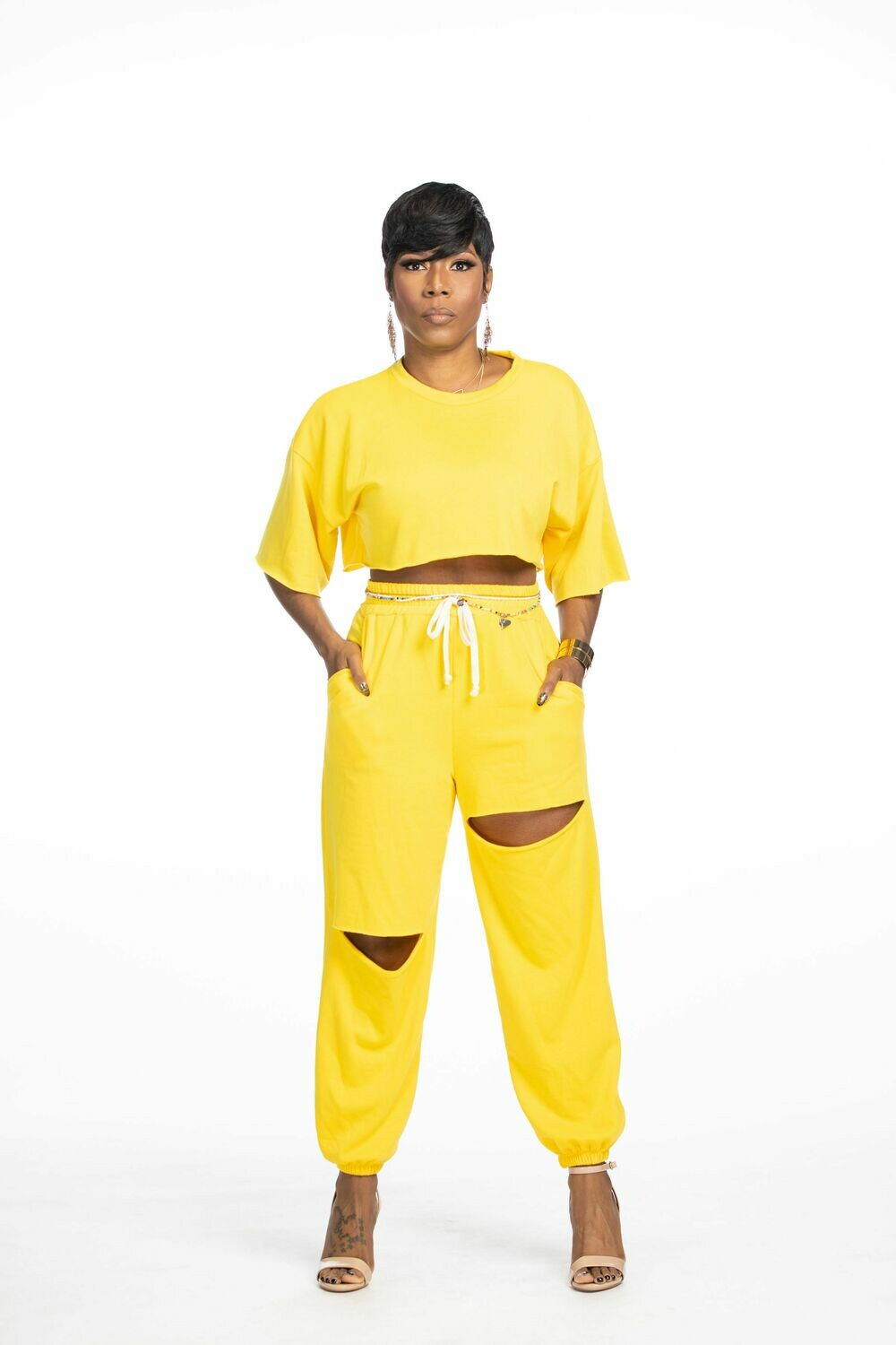 Yellow Crop Jogger Set