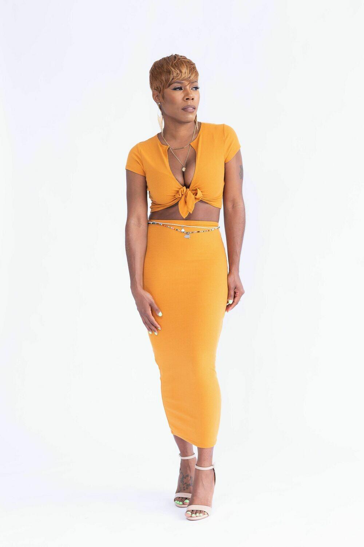 Cognac 2piece Skirt Set