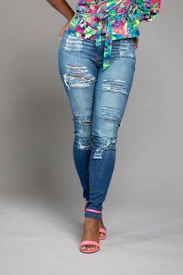 Medium Blue Destruction Jeans