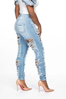 Front Back Destruction Jeans