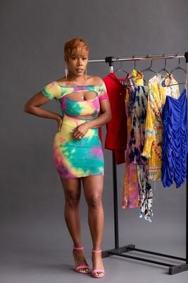 Cut Out Tie Dye Dress