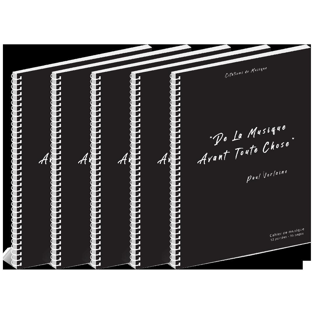 Lot de 5 Cahiers de musique - Citations - 12 portées - 96 pages