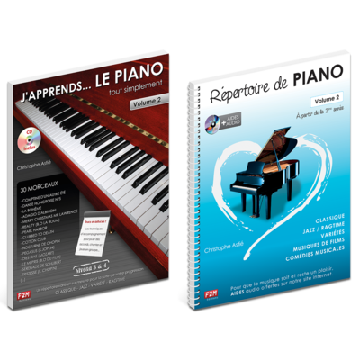 Offre DUO - J'apprends LE PIANO tout simplement - Vol 2 + Répertoire de PIANO - Vol 2