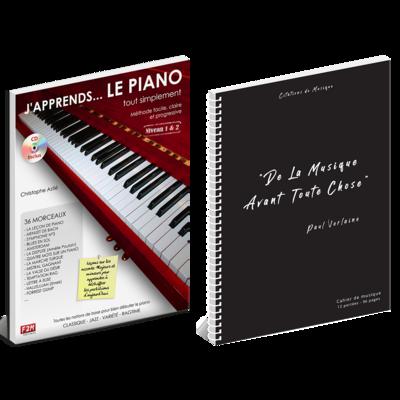 Offre DUO - J'apprends LE PIANO tout simplement - Vol 1 + Cahier de musique - Citations - 12 portées - 96 pages