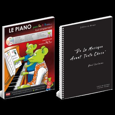 Offre DUO - LE PIANO pour les 5/8 ans + Cahier de musique - Citations - 12 portées - 96 pages