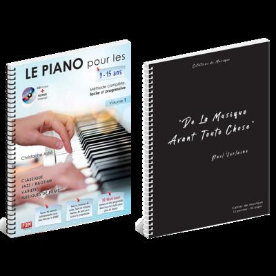 Offre DUO - LE PIANO pour les 9/15 Ans - Vol 1 + Cahier de musique - Citations - 12 Portées - 96 Pages